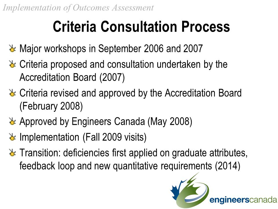 Criteria Consultation Process Major workshops in September 2006 and 2007 Criteria proposed and consultation undertaken by the Accreditation Board (2007) Criteria revised and approved by the Accreditation Board (February 2008) Approved by Engineers Canada (May 2008) Implementation (Fall 2009 visits) Transition: deficiencies first applied on graduate attributes, feedback loop and new quantitative requirements (2014) Implementation of Outcomes Assessment