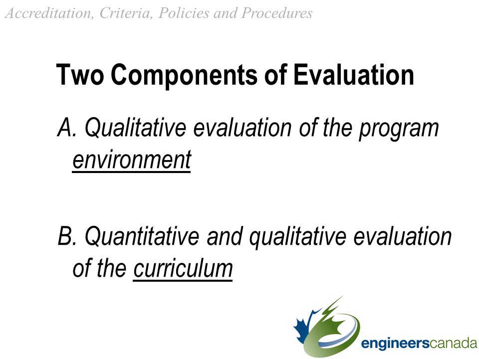 Two Components of Evaluation A. Qualitative evaluation of the program environment B.