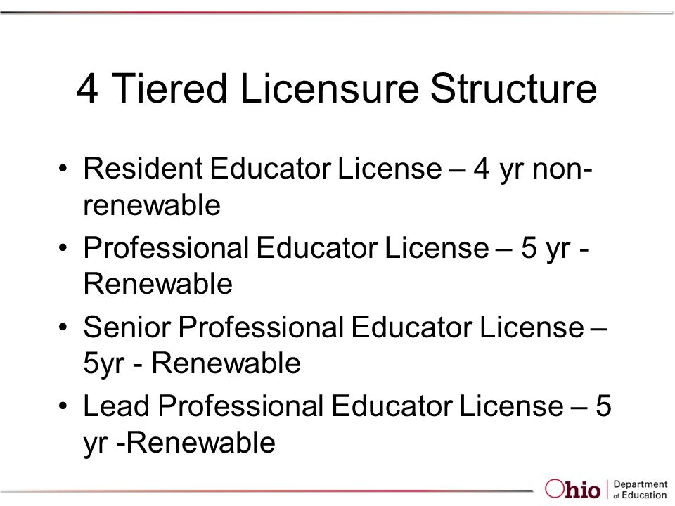 4 Tiered Licensure Structure Resident Educator License – 4 yr non- renewable Professional Educator License – 5 yr - Renewable Senior Professional Educator License – 5yr - Renewable Lead Professional Educator License – 5 yr -Renewable