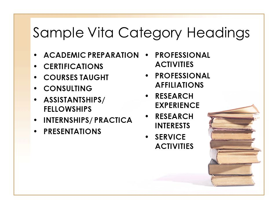 Sample Vita Category Headings ACADEMIC PREPARATION CERTIFICATIONS COURSES TAUGHT CONSULTING ASSISTANTSHIPS/ FELLOWSHIPS INTERNSHIPS/ PRACTICA PRESENTATIONS PROFESSIONAL ACTIVITIES PROFESSIONAL AFFILIATIONS RESEARCH EXPERIENCE RESEARCH INTERESTS SERVICE ACTIVITIES