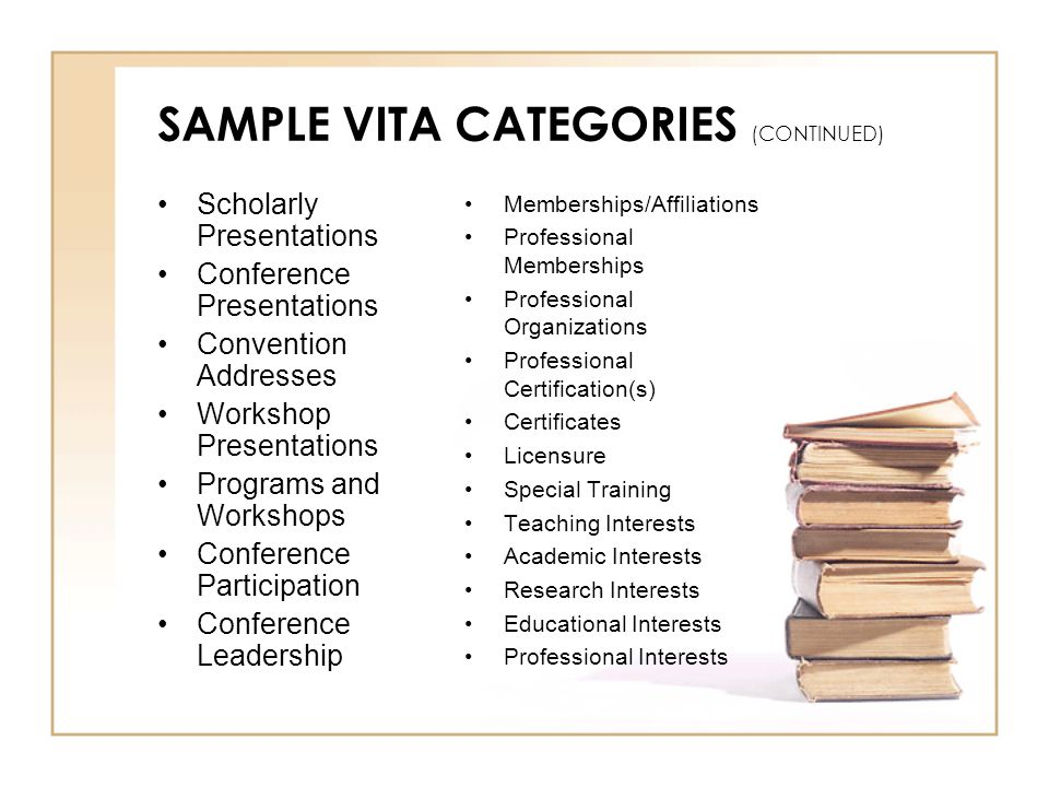 SAMPLE VITA CATEGORIES (CONTINUED) Scholarly Presentations Conference Presentations Convention Addresses Workshop Presentations Programs and Workshops Conference Participation Conference Leadership Memberships/Affiliations Professional Memberships Professional Organizations Professional Certification(s) Certificates Licensure Special Training Teaching Interests Academic Interests Research Interests Educational Interests Professional Interests