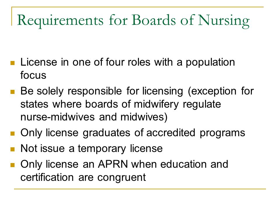 Requirements for Boards of Nursing License in one of four roles with a population focus Be solely responsible for licensing (exception for states where boards of midwifery regulate nurse-midwives and midwives) Only license graduates of accredited programs Not issue a temporary license Only license an APRN when education and certification are congruent