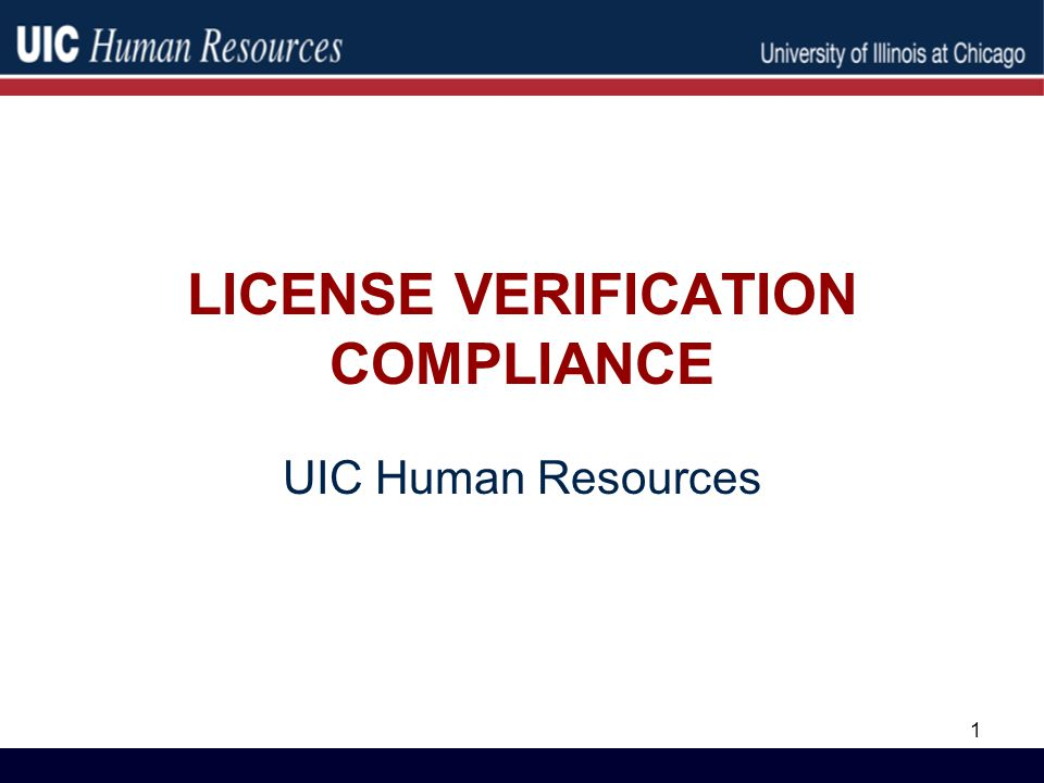 License Verification Compliance Uic Human Resources Ppt Download