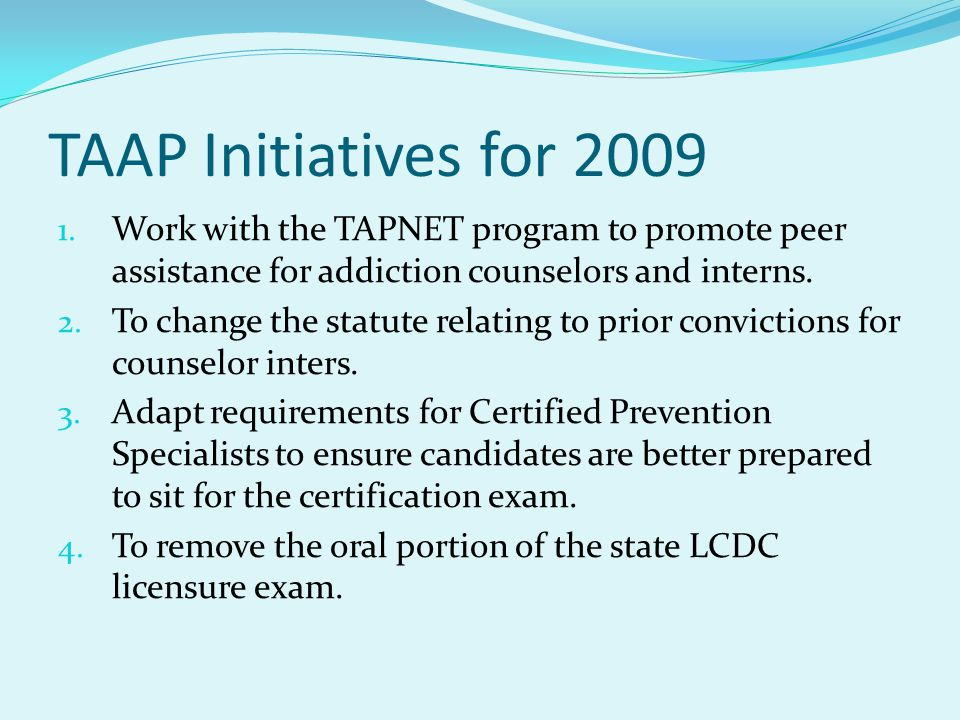 TAAP Initiatives for