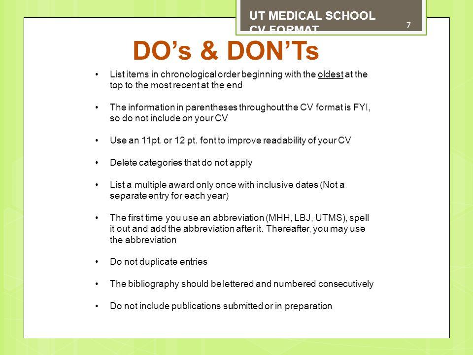 ut format ut medical school cv format format for curriculum vitae