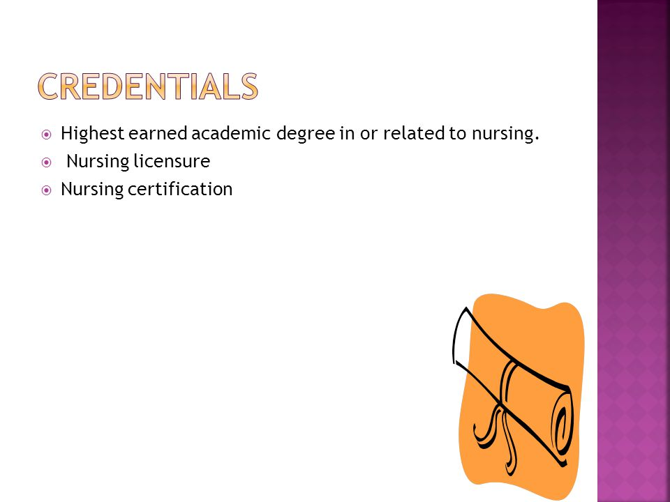  Highest earned academic degree in or related to nursing.