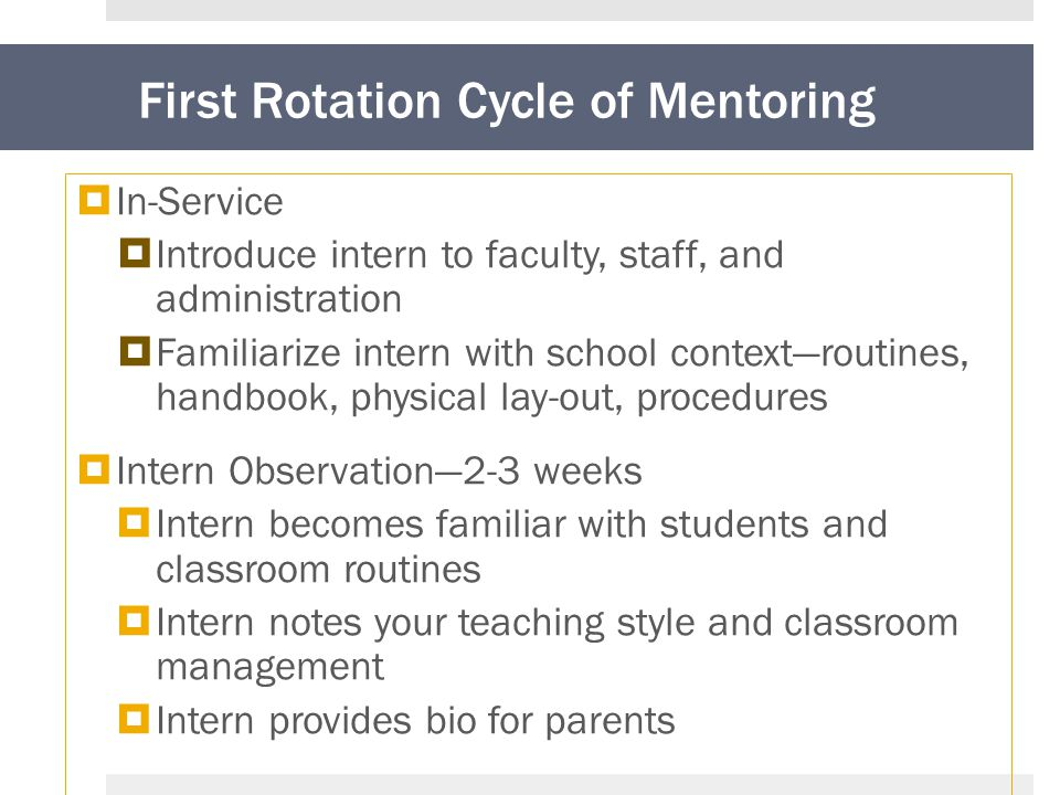 First Rotation Cycle of Mentoring  In-Service  Introduce intern to faculty, staff, and administration  Familiarize intern with school context—routines, handbook, physical lay-out, procedures  Intern Observation—2-3 weeks  Intern becomes familiar with students and classroom routines  Intern notes your teaching style and classroom management  Intern provides bio for parents