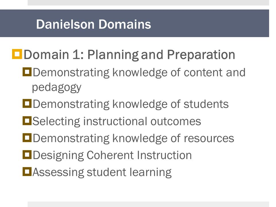 Danielson Domains  Domain 1: Planning and Preparation  Demonstrating knowledge of content and pedagogy  Demonstrating knowledge of students  Selecting instructional outcomes  Demonstrating knowledge of resources  Designing Coherent Instruction  Assessing student learning