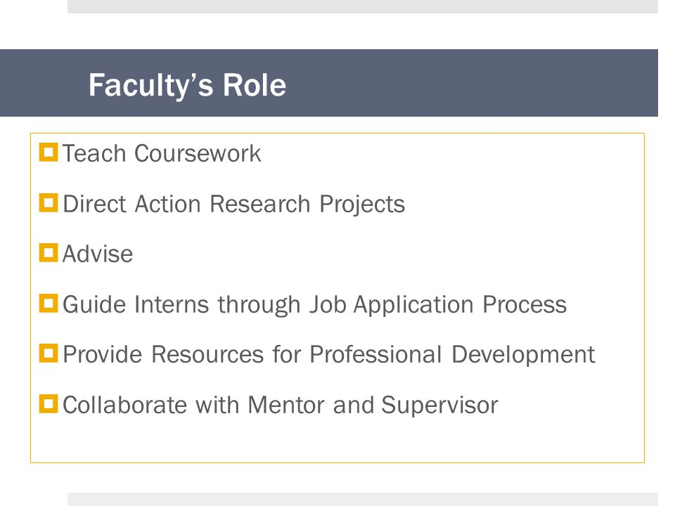 Faculty's Role  Teach Coursework  Direct Action Research Projects  Advise  Guide Interns through Job Application Process  Provide Resources for Professional Development  Collaborate with Mentor and Supervisor