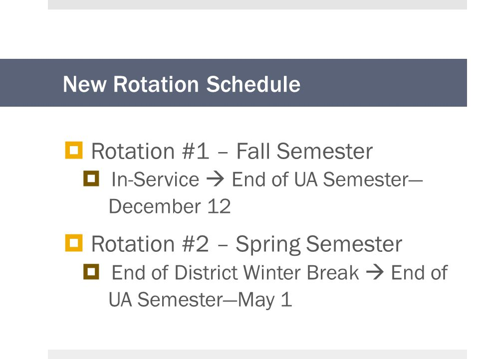 New Rotation Schedule  Rotation #1 – Fall Semester  In-Service  End of UA Semester— December 12  Rotation #2 – Spring Semester  End of District Winter Break  End of UA Semester—May 1