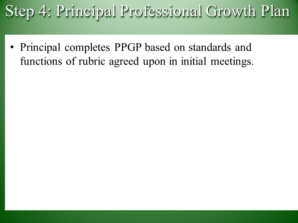 Principal completes PPGP based on standards and functions of rubric agreed upon in initial meetings.