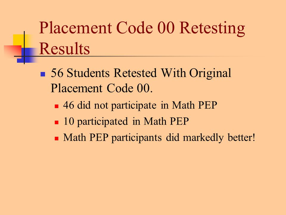 Placement Code 00 Retesting Results 56 Students Retested With Original Placement Code 00.