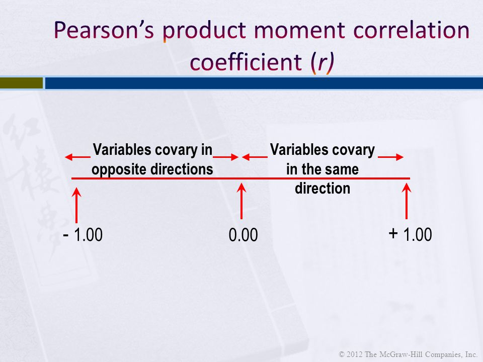 Variables covary in opposite directions Variables covary in the same direction © 2012 The McGraw-Hill Companies, Inc.