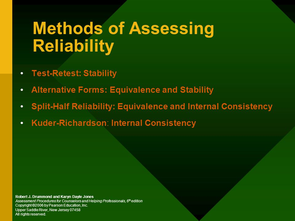 Methods of Assessing Reliability Test-Retest: Stability Alternative Forms: Equivalence and Stability Split-Half Reliability: Equivalence and Internal Consistency Kuder-Richardson: Internal Consistency Robert J.