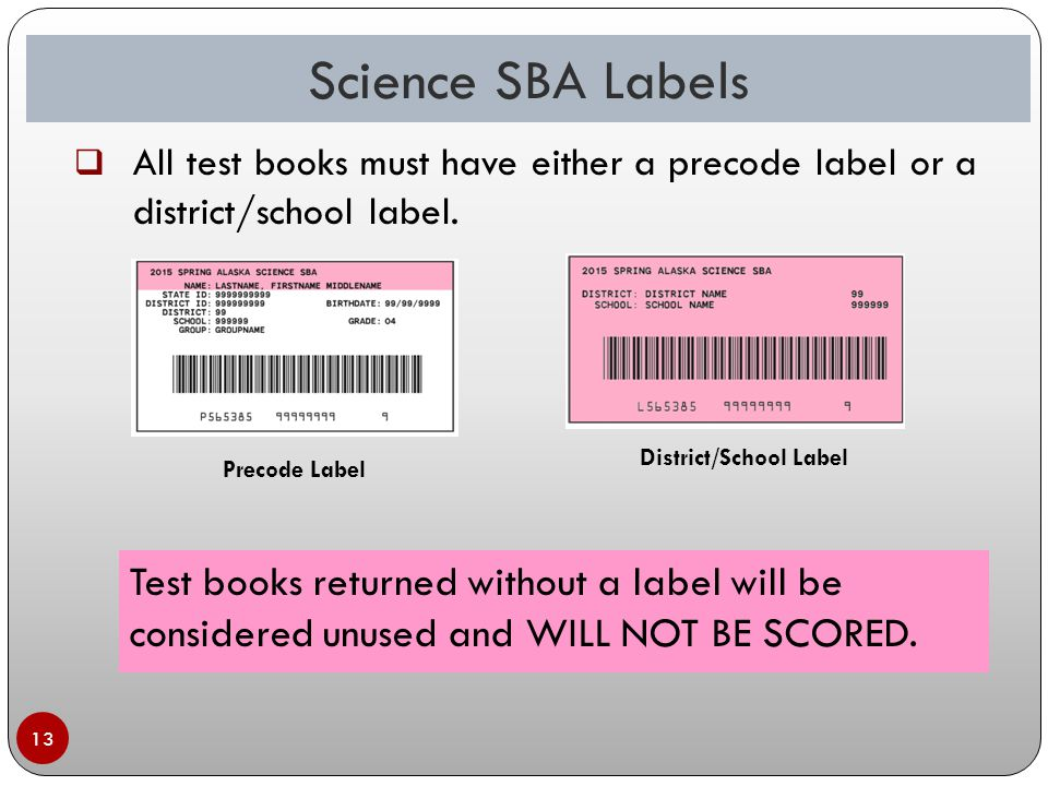 13 Precode Label District/School Label Test books returned without a label will be considered unused and WILL NOT BE SCORED.