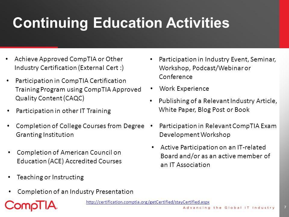 V11 Navigating The Comptia Continuing Education Program Ppt Download