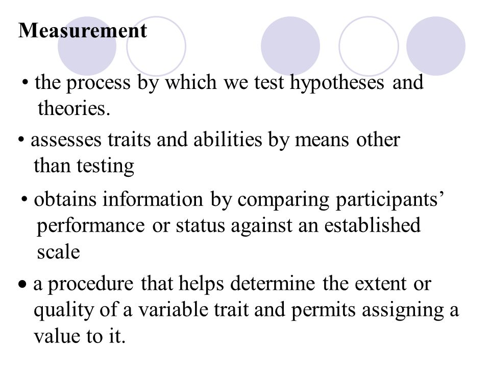 Measurement the process by which we test hypotheses and theories.