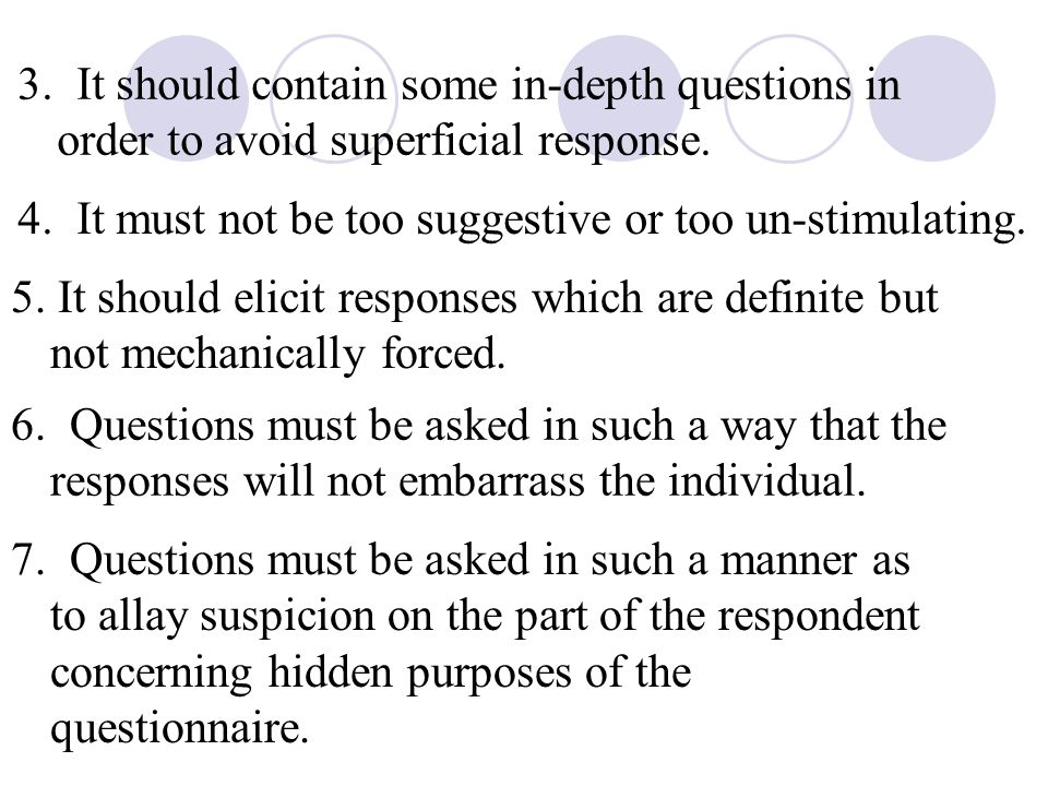 3. It should contain some in-depth questions in order to avoid superficial response.