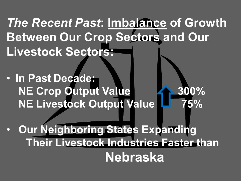 The Recent Past: Imbalance of Growth Between Our Crop Sectors and Our Livestock Sectors: In Past Decade: NE Crop Output Value 300% NE Livestock Output Value 75% Our Neighboring States Expanding Their Livestock Industries Faster than Nebraska