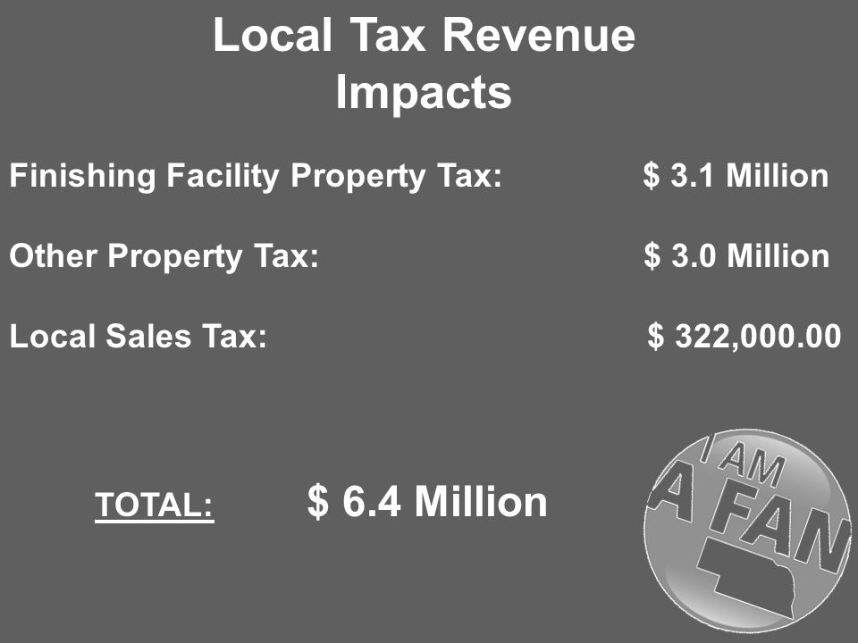 Local Tax Revenue Impacts Finishing Facility Property Tax: $ 3.1 Million Other Property Tax: $ 3.0 Million Local Sales Tax: $ 322, TOTAL: $ 6.4 Million