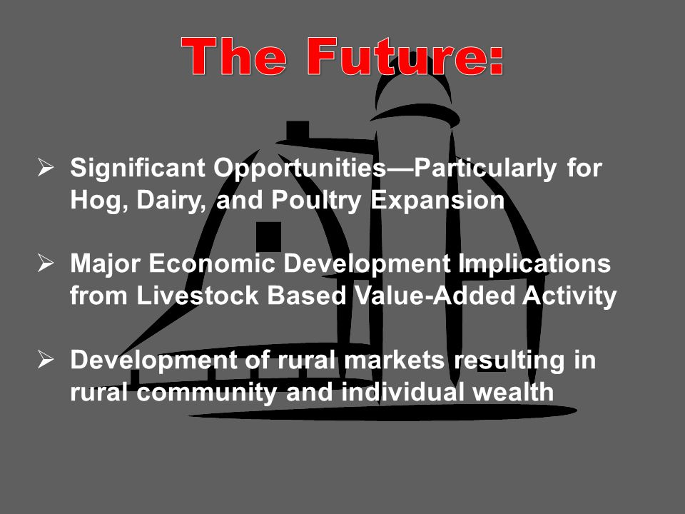  Significant Opportunities—Particularly for Hog, Dairy, and Poultry Expansion  Major Economic Development Implications from Livestock Based Value-Added Activity  Development of rural markets resulting in rural community and individual wealth