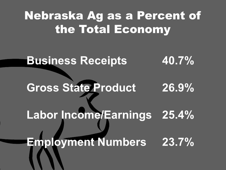 Business Receipts40.7% Gross State Product26.9% Labor Income/Earnings25.4% Employment Numbers23.7% Nebraska Ag as a Percent of the Total Economy