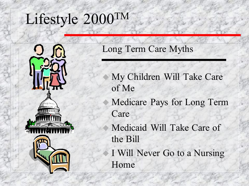 Lifestyle 2000 TM Long Term Care Myths u My Children Will Take Care of Me u Medicare Pays for Long Term Care u Medicaid Will Take Care of the Bill u I Will Never Go to a Nursing Home