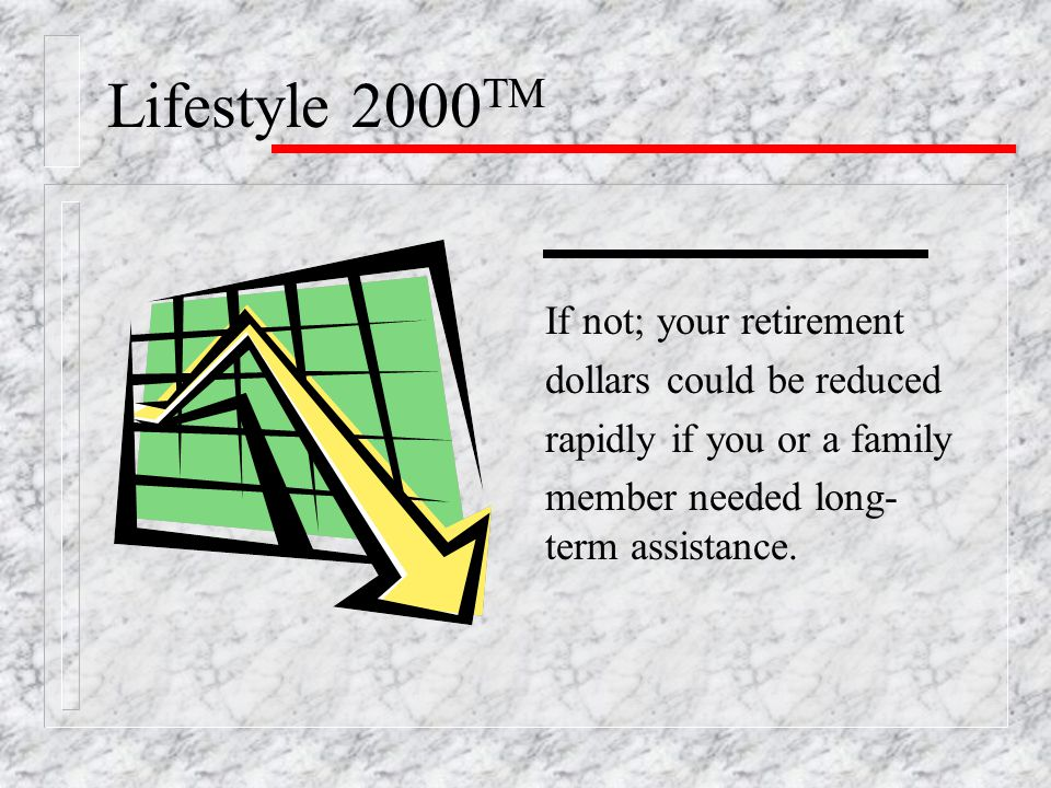 Lifestyle 2000 TM If not; your retirement dollars could be reduced rapidly if you or a family member needed long- term assistance.