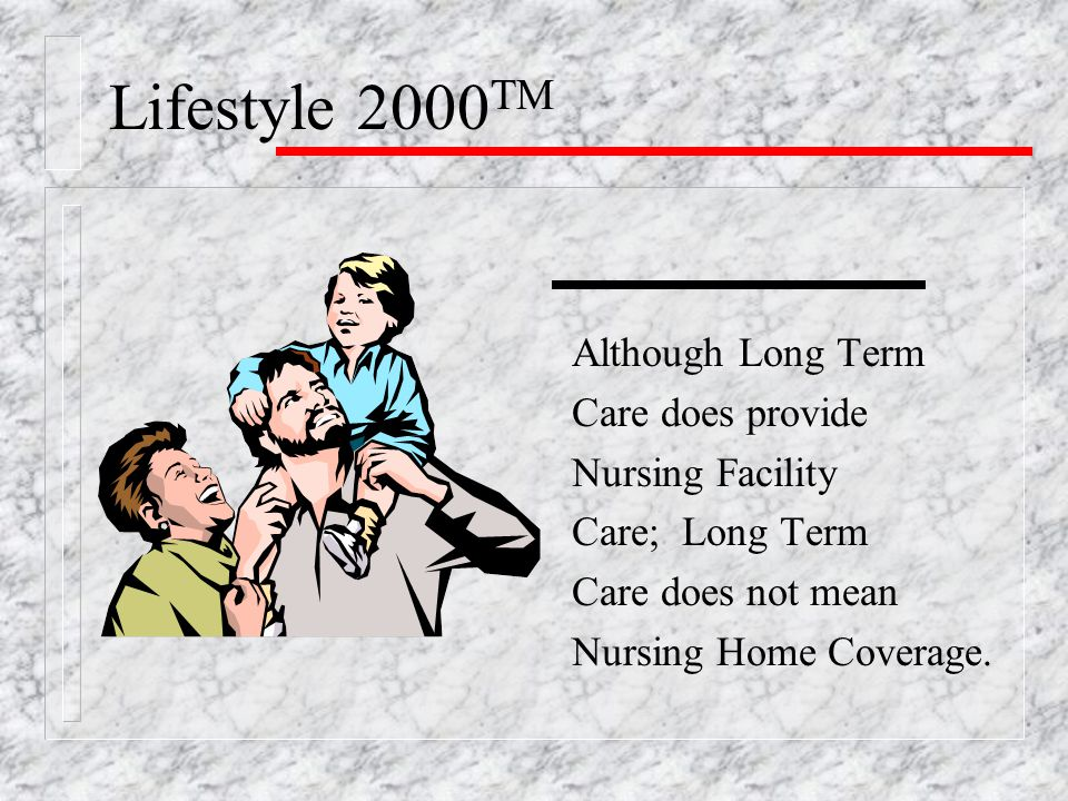 Although Long Term Care does provide Nursing Facility Care; Long Term Care does not mean Nursing Home Coverage.