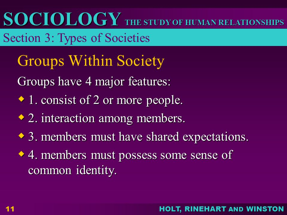 THE STUDY OF HUMAN RELATIONSHIPS SOCIOLOGY HOLT, RINEHART AND WINSTON 11 Groups have 4 major features:  1.
