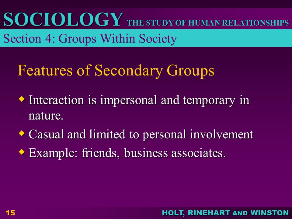 THE STUDY OF HUMAN RELATIONSHIPS SOCIOLOGY HOLT, RINEHART AND WINSTON 15 Features of Secondary Groups  Interaction is impersonal and temporary in nature.