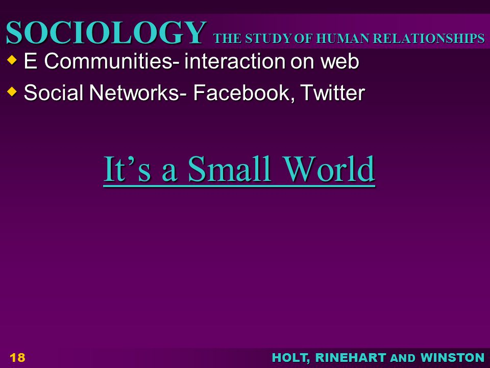 THE STUDY OF HUMAN RELATIONSHIPS SOCIOLOGY HOLT, RINEHART AND WINSTON  E Communities- interaction on web  Social Networks- Facebook, Twitter It's a Small World It's a Small World 18