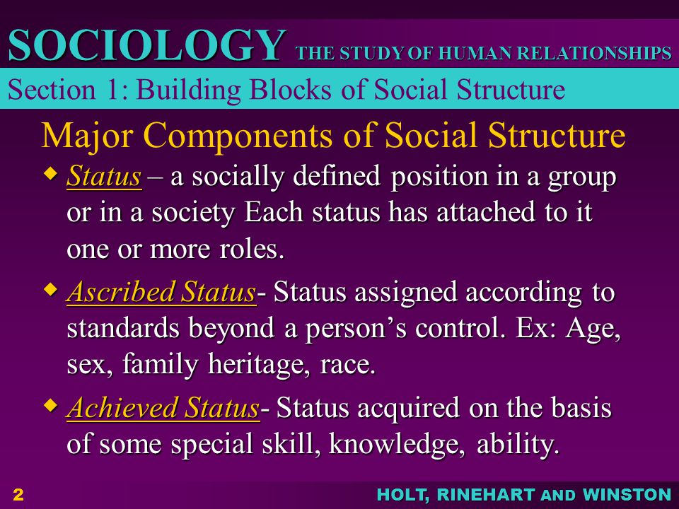 THE STUDY OF HUMAN RELATIONSHIPS SOCIOLOGY HOLT, RINEHART AND WINSTON 2 Major Components of Social Structure  Status – a socially defined position in a group or in a society Each status has attached to it one or more roles.