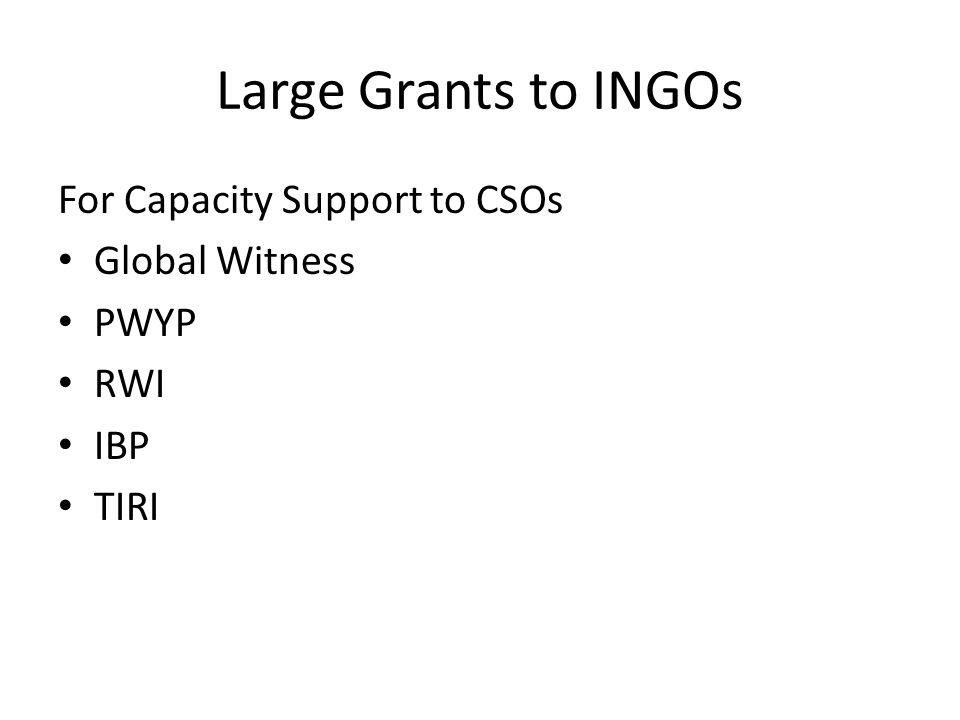 Large Grants to INGOs For Capacity Support to CSOs Global Witness PWYP RWI IBP TIRI