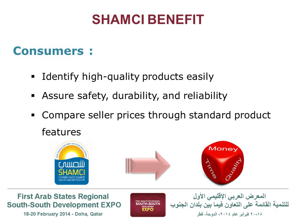 SHAMCI BENEFIT Consumers :  Identify high-quality products easily  Assure safety, durability, and reliability  Compare seller prices through standard product features