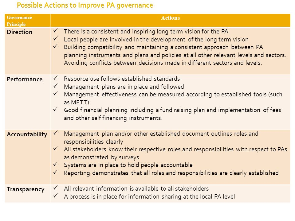 Governance Principle Actions Direction There is a consistent and inspiring long term vision for the PA Local people are involved in the development of the long term vision Building compatibility and maintaining a consistent approach between PA planning instruments and plans and policies at all other relevant levels and sectors.
