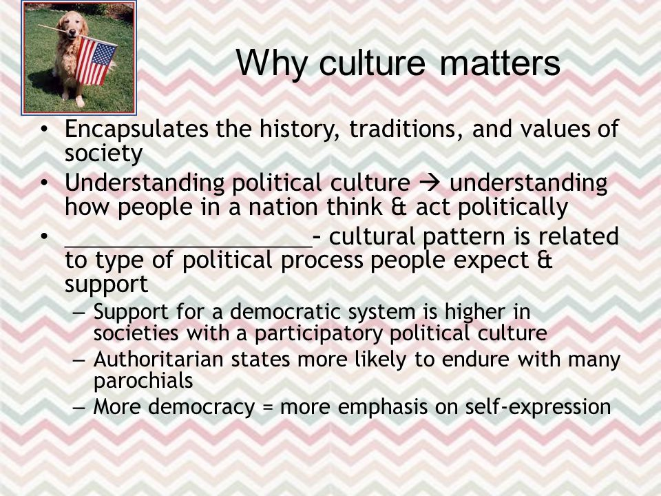 Why culture matters Encapsulates the history, traditions, and values of society Understanding political culture  understanding how people in a nation think & act politically ____________________ – cultural pattern is related to type of political process people expect & support – Support for a democratic system is higher in societies with a participatory political culture – Authoritarian states more likely to endure with many parochials – More democracy = more emphasis on self-expression