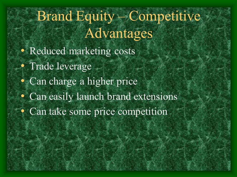 Brand Equity – Competitive Advantages Reduced marketing costs Trade leverage Can charge a higher price Can easily launch brand extensions Can take some price competition