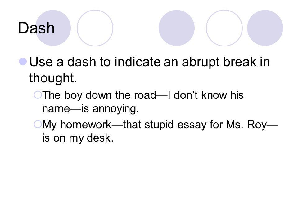 dash in essay