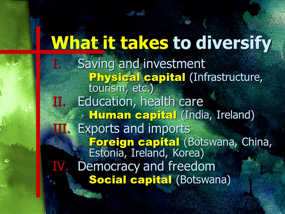 to diversify What it takes to diversify I.Saving and investment Physical capital (Infrastructure, tourism, etc.) II.Education, health care Human capital (India, Ireland) III.Exports and imports Foreign capital (Botswana, China, Estonia, Ireland, Korea) IV.Democracy and freedom Social capital (Botswana)