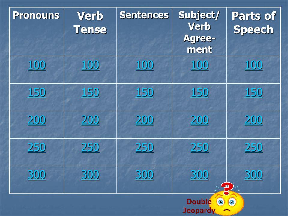 Grammar Jeopardy Pronouns Verb Tense Sentences Subject/ Verb