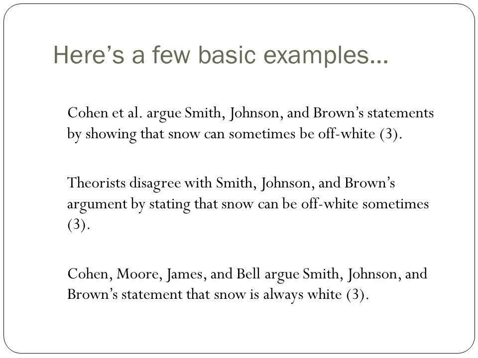 Here's a few basic examples… Cohen et al.