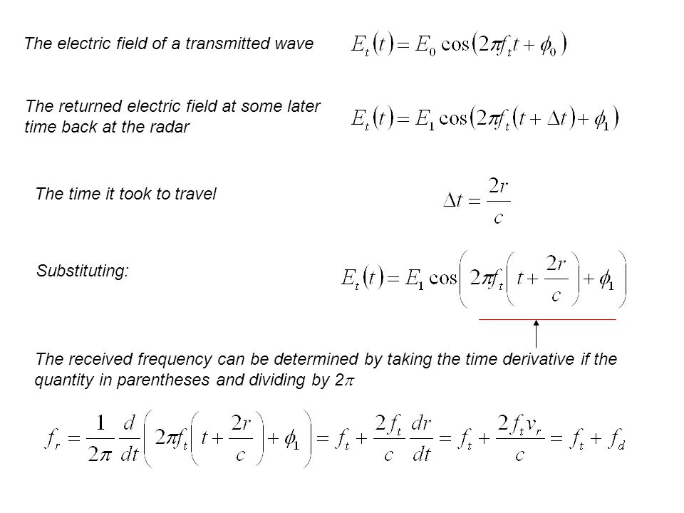 The electric field of a transmitted wave The returned electric field at some later time back at the radar The time it took to travel Substituting: The received frequency can be determined by taking the time derivative if the quantity in parentheses and dividing by 2 