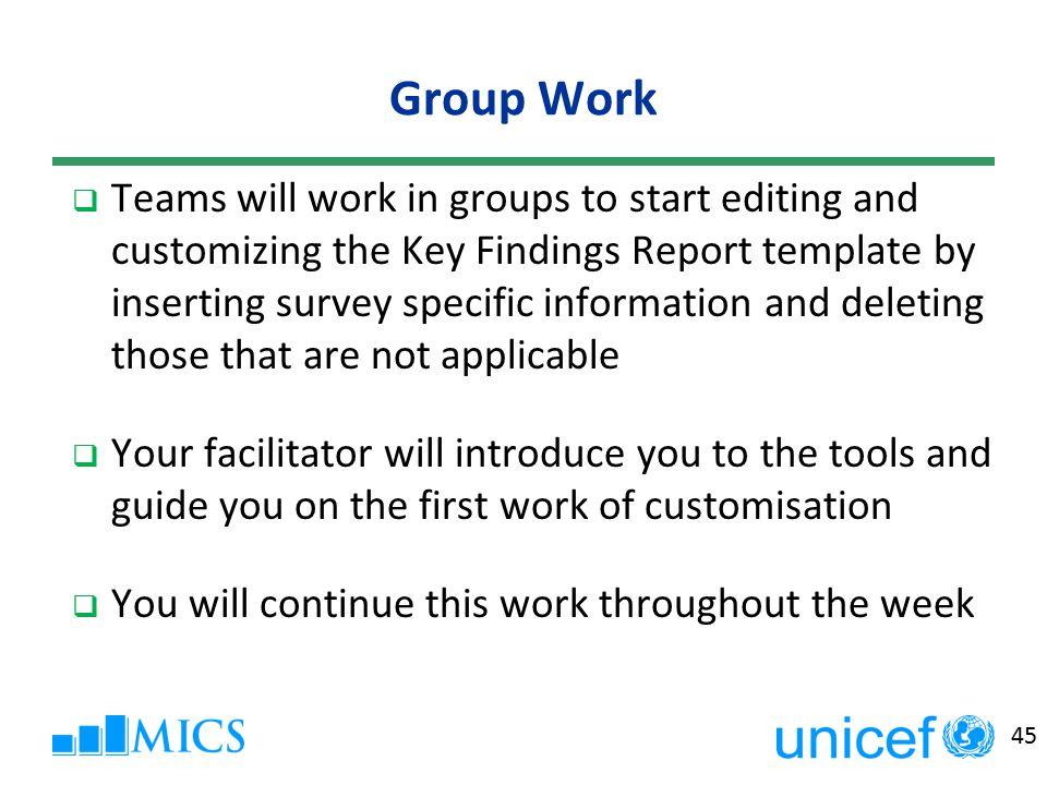 1 mics key findings report and mics final report multiple indicator