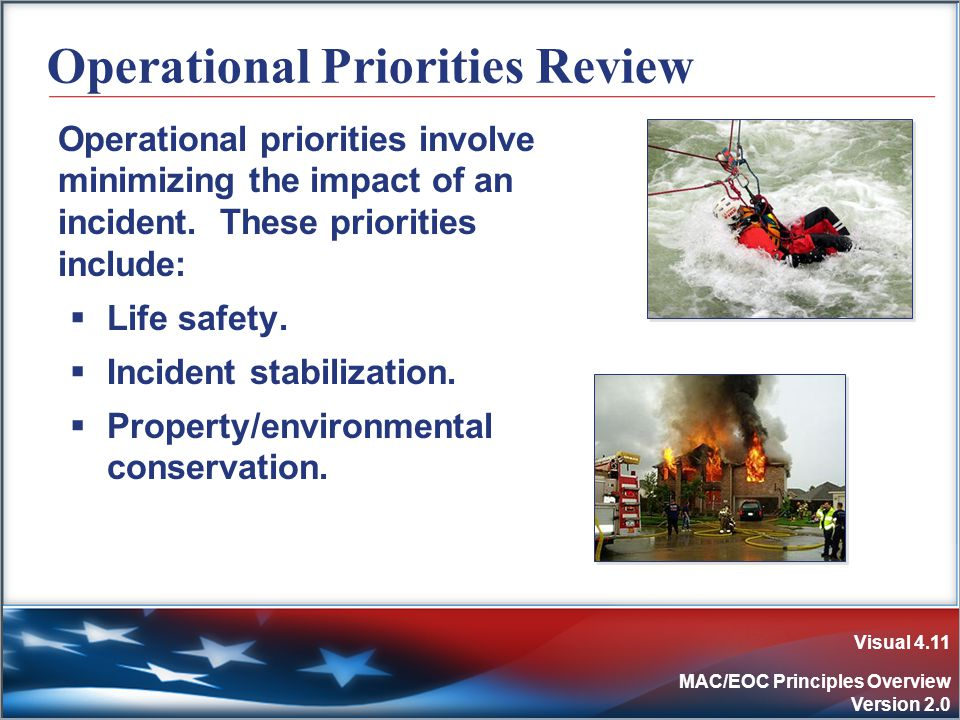 Visual 4.11 MAC/EOC Principles Overview Version 2.0 Operational Priorities Review Operational priorities involve minimizing the impact of an incident.