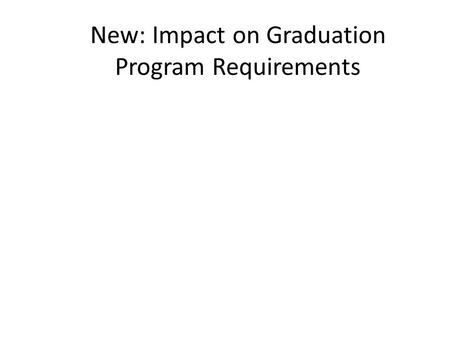 New: Impact on Graduation Program Requirements