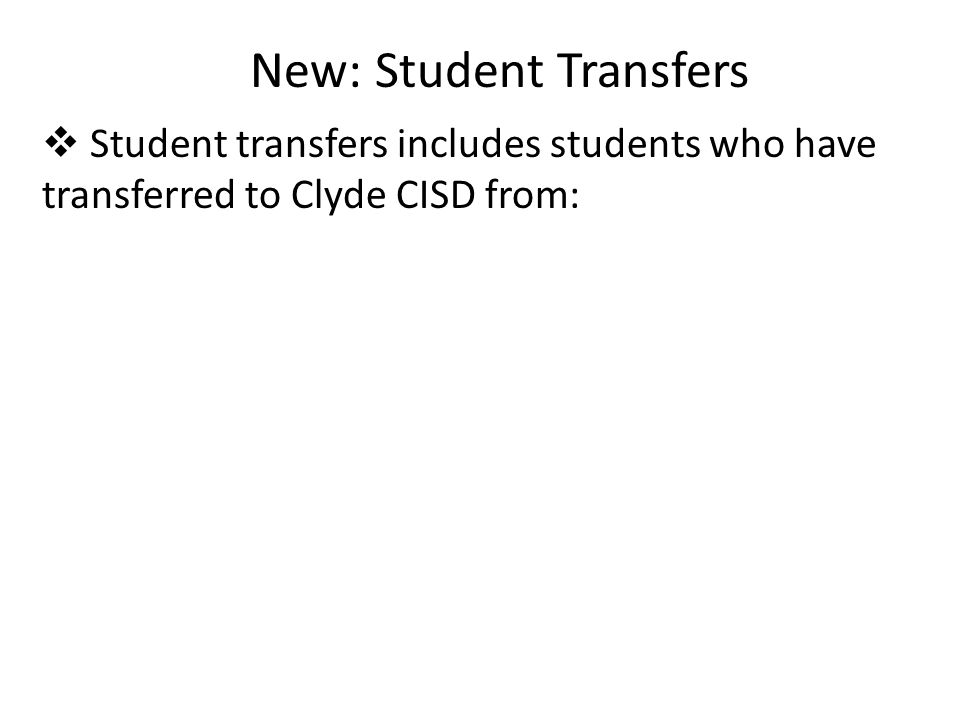 New: Student Transfers  Student transfers includes students who have transferred to Clyde CISD from: