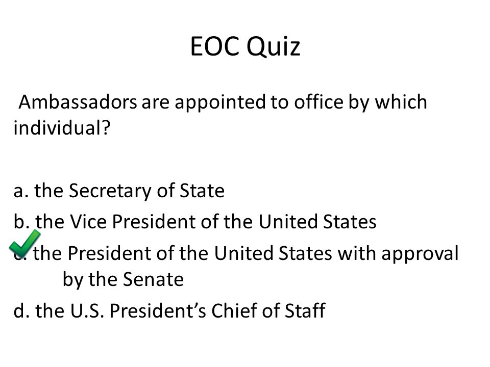 EOC Quiz Ambassadors are appointed to office by which individual.