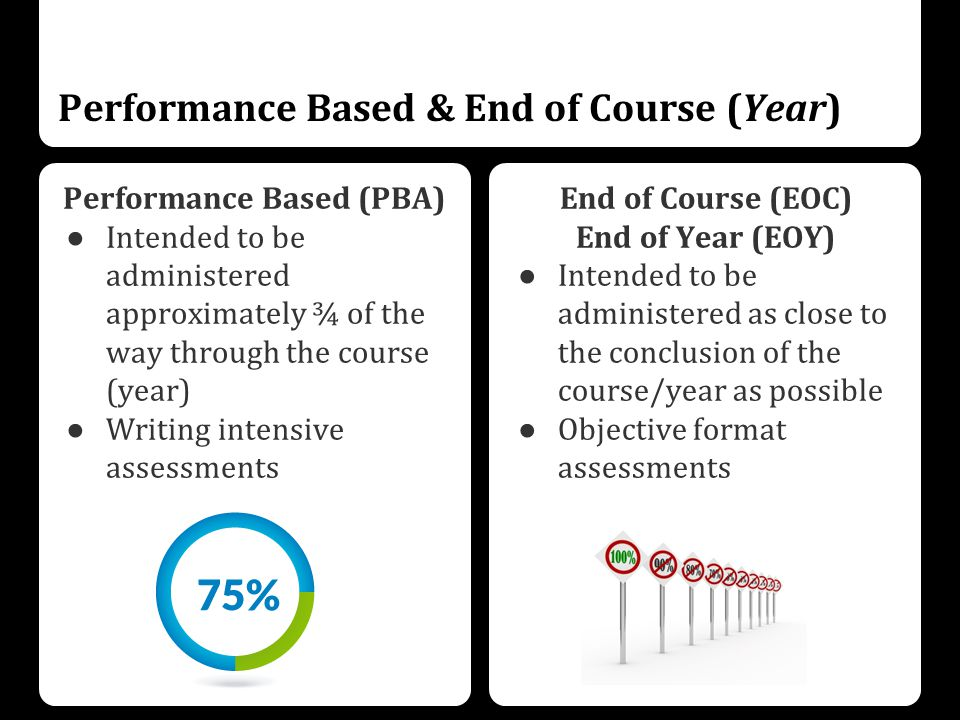 Performance Based & End of Course (Year) Performance Based (PBA) ● Intended to be administered approximately ¾ of the way through the course (year) ● Writing intensive assessments End of Course (EOC) End of Year (EOY) ● Intended to be administered as close to the conclusion of the course/year as possible ● Objective format assessments
