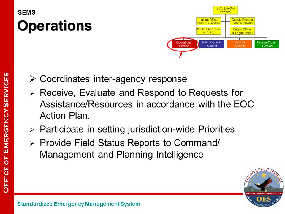 Office of Emergency Services Operations  Coordinates inter-agency response  Receive, Evaluate and Respond to Requests for Assistance/Resources in accordance with the EOC Action Plan.